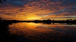 Public Domain sunrise on lake with trees