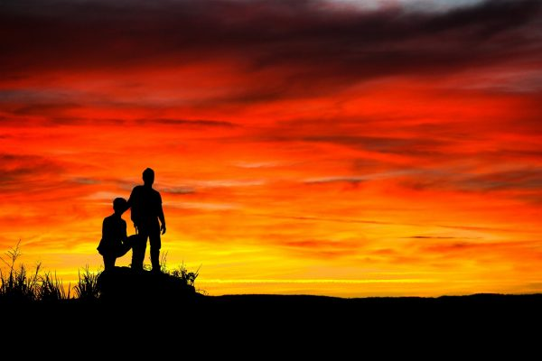 Public Domain sunset-sky-people-silhouette